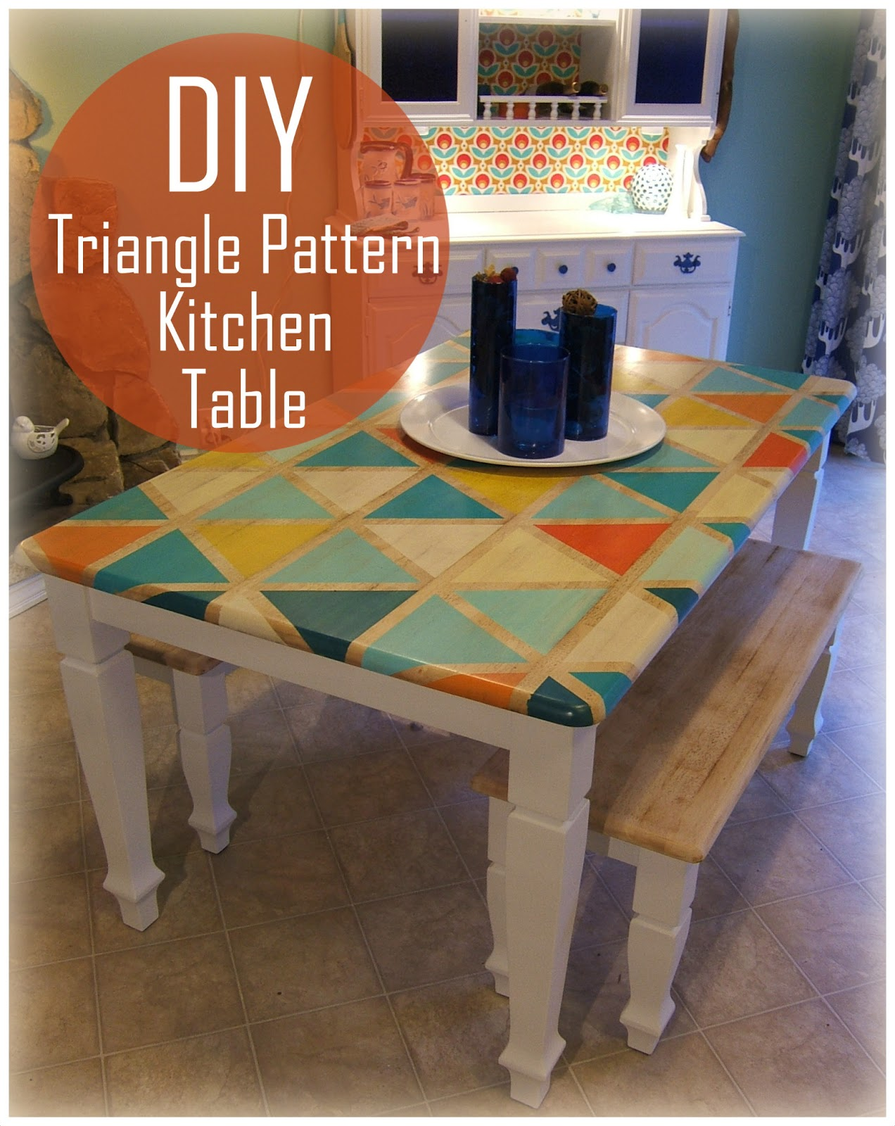how to diy triangle pattern kitchen painting kitchen table How To DIY Triangle Pattern Kitchen Tabletop