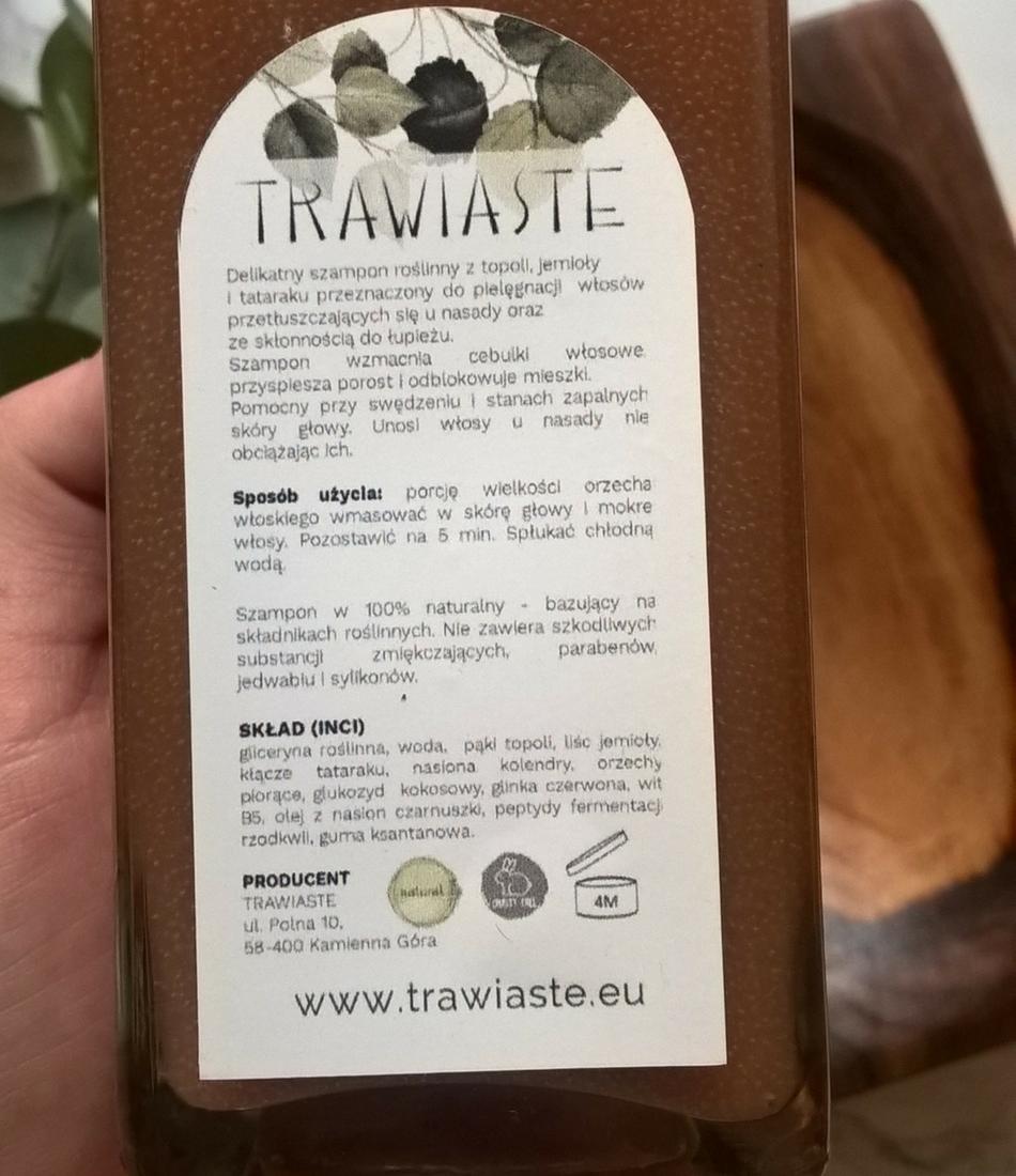 Trawiaste szampon roślinny Topola, Tatarak, Jemioła skład inci