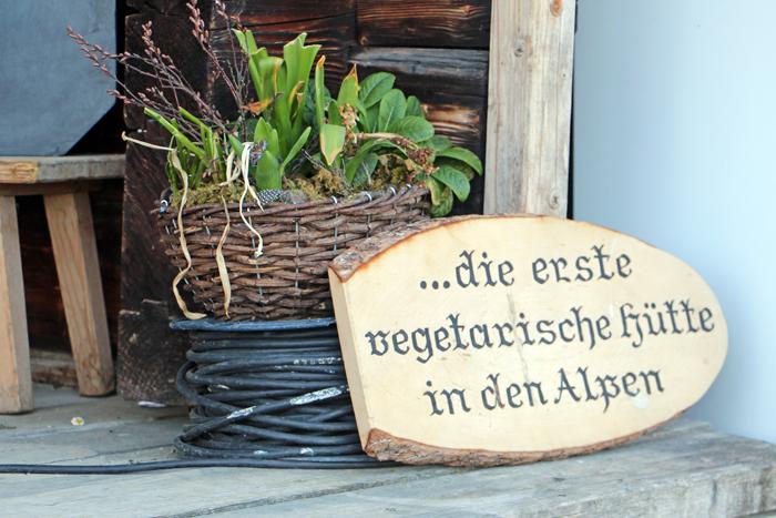 Vegetarische Hütte Alpen