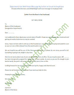 Sample Get Well Soon Message by Letter or Email to Employee