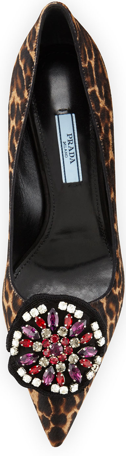 Prada Leopard-Print Calf-Hair Ornament Pump