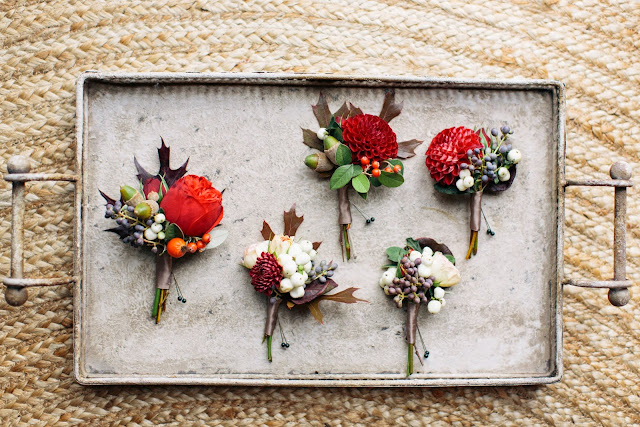 les fleurs : megan brae more photography : at home elopement : fall wedding : burgundy, red, apricot, ivory & green boutonnieres : garden roses, dahlia, foliage, berries