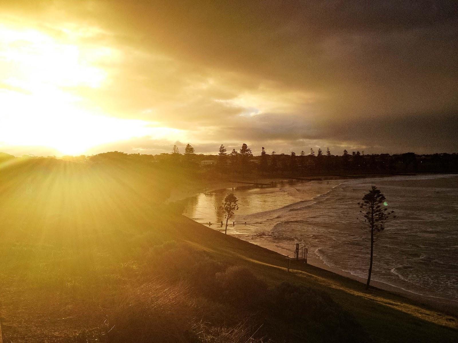 torquay beach at sunset