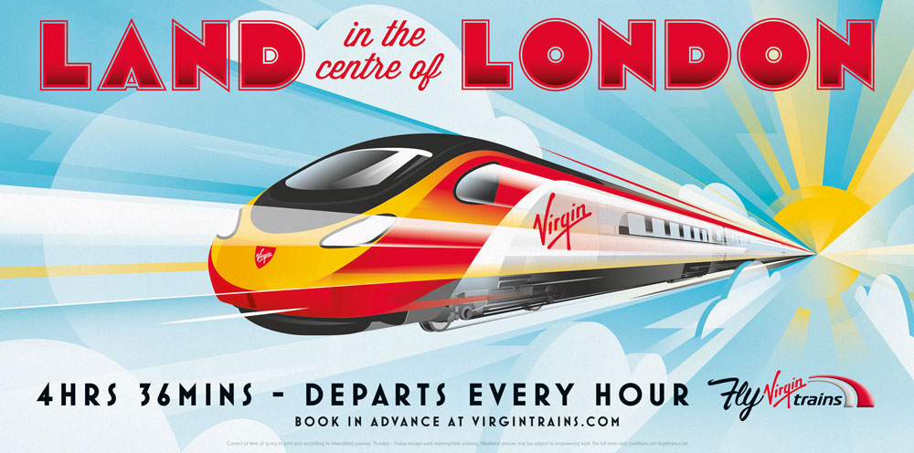 Modern Retro Inspired Print Ads Fly Virgin Trains Adstasher