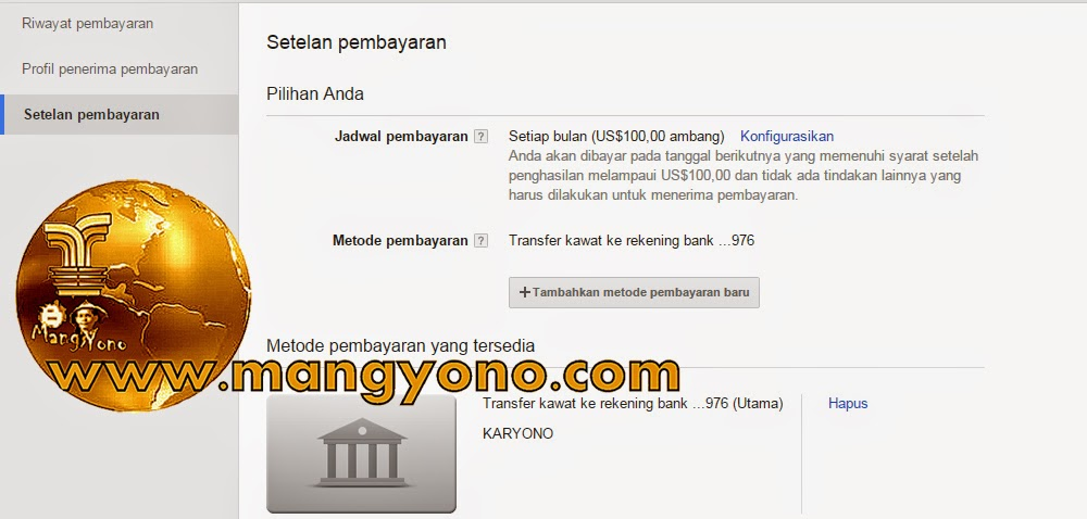 Cara Mengatur Pembayaran Google Adsense Dengan Bank Lokal