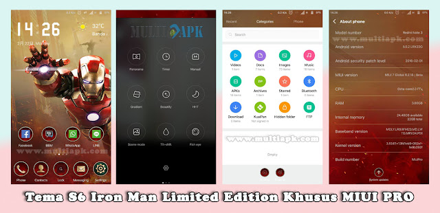 Tema S6 Iron Man (Limited Edition Khusus MIUI PRO)