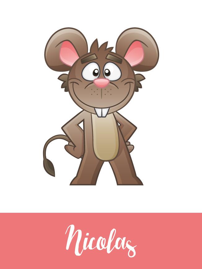 Création mascotte souris Nicolas