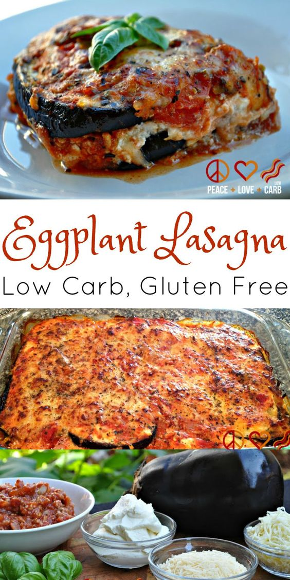 Eggplant Lasagna with Meat Sauce #lasagna #lowcarb #glutenfree