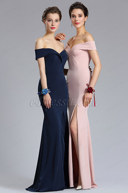 New Navy Blue Off Shoulder Slit Prom Evening Dress