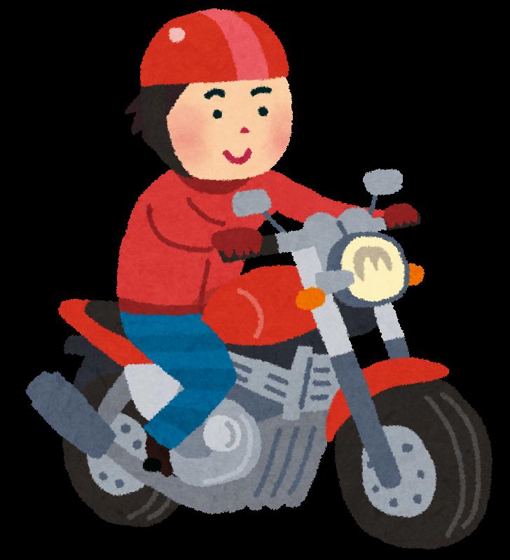 バイクオートバイに乗った男性のイラスト かわいいフリー素材集