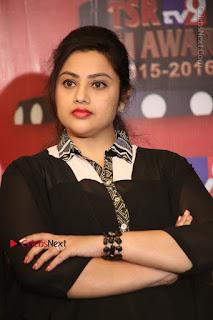 Tamil Actress Meena Latest Stills in Black Dress at TSR TV9 Awards Press Meet  0096.JPG