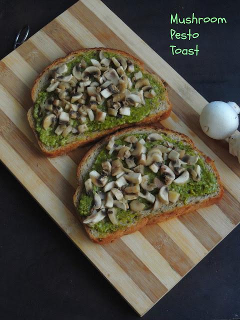 Vegan Mushroom pesto Toast, Pesto Mushroom Toast