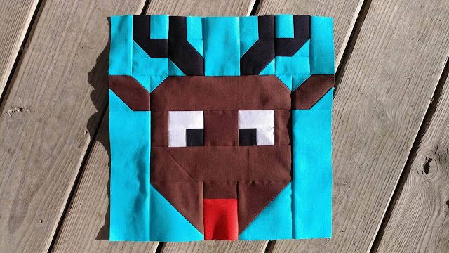 Reindeer Games Rudolph quilt block for the I Wish You a Merry QAL
