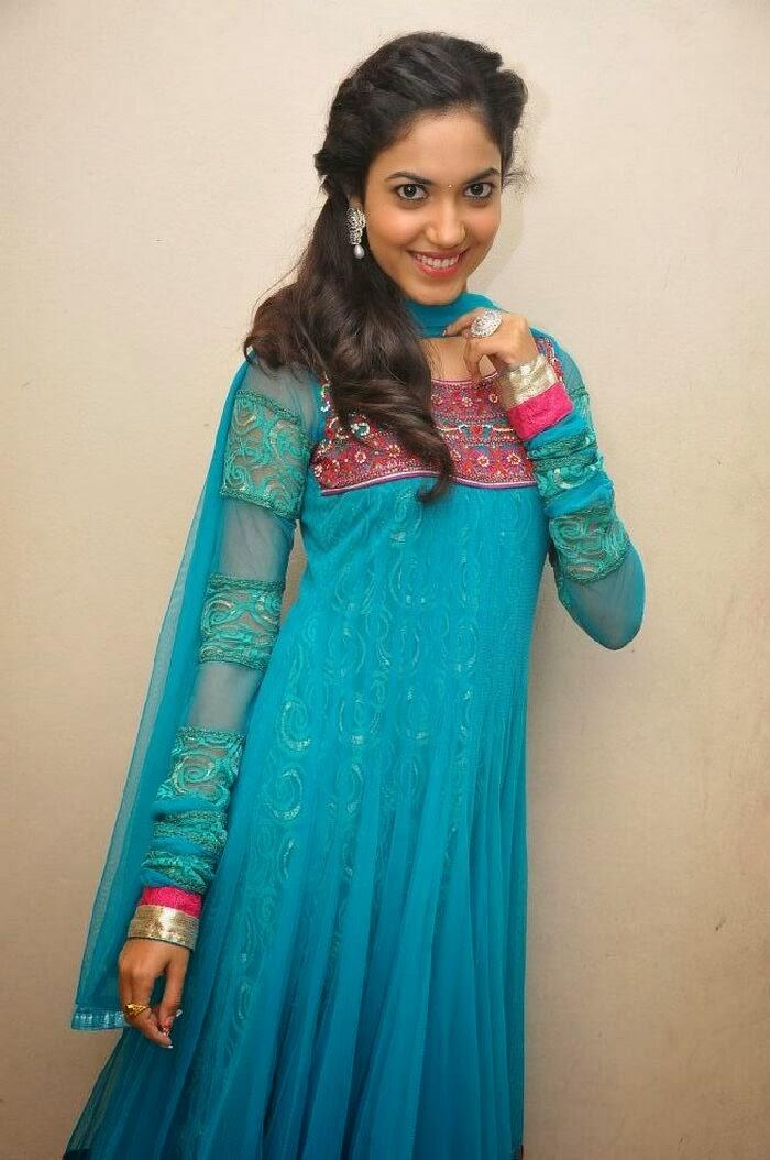 Ethnic Ritu varma photos in blue salwar kameez at prema ishq kadhal audio success meet function