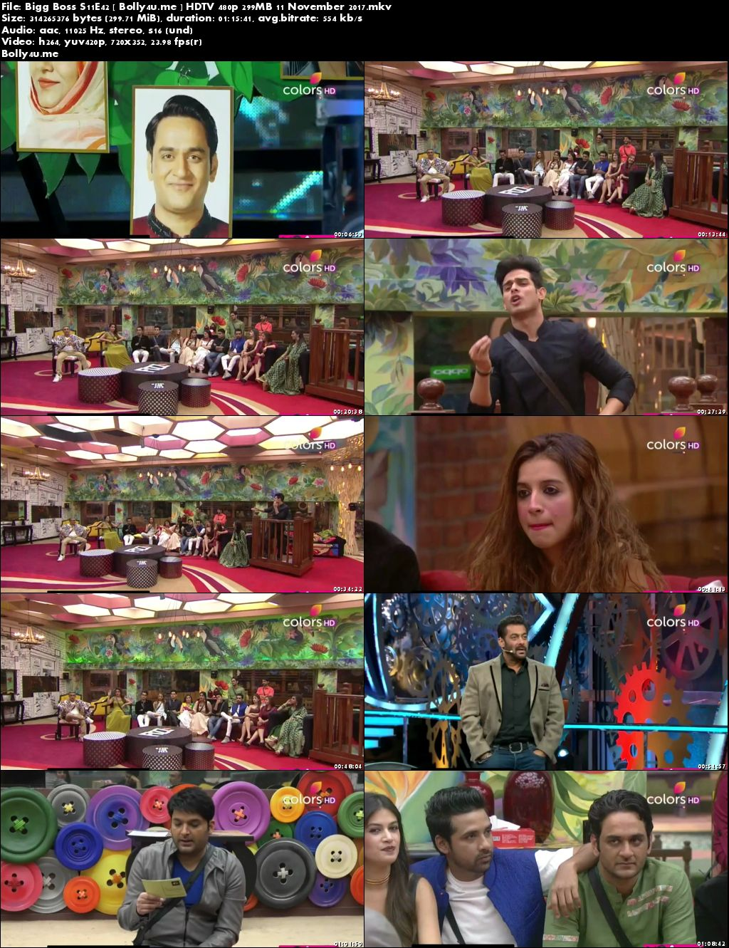 Bigg Boss S11E42 HDTV 480p 300MB 11 November 2017 Download