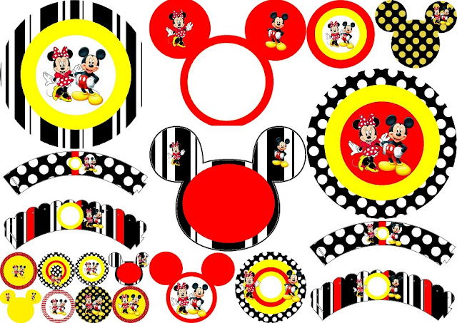 Minnie and Mickey in Red: Free Printable Birthday Cupcake Wrappers and Toppers.