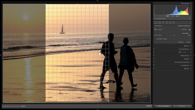 reencuadrar en vertical cuando la foto es horizontal (o viceversa)