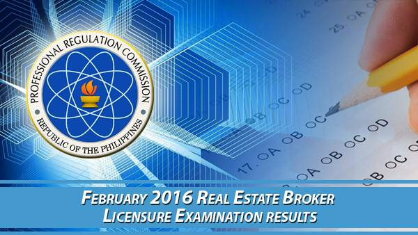 PRC Real Estate Broker February 2016 Board Exam Results