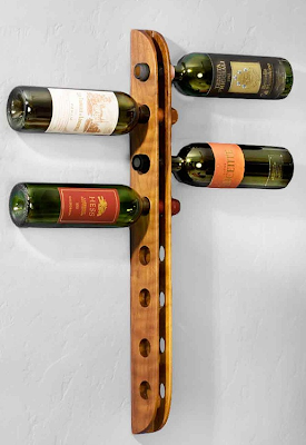 wall-mounted wine rack, wood, holding 8 bottles