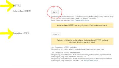 Pilih opsi Ya pada menu Ketersediaan HTTPS