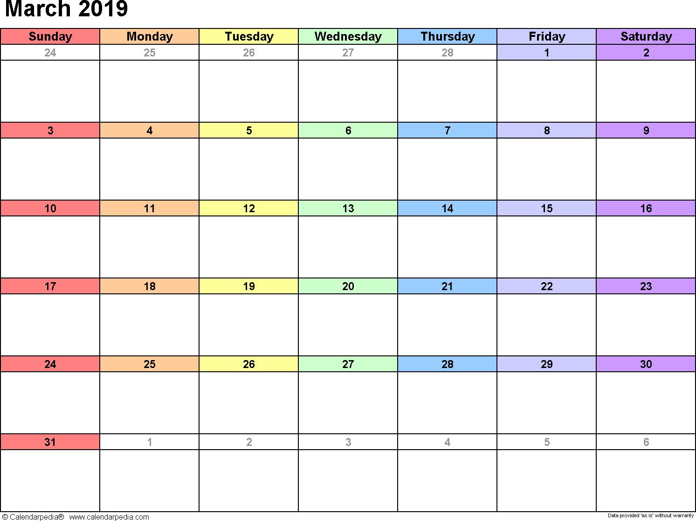 March 2019 Calendar Template Download