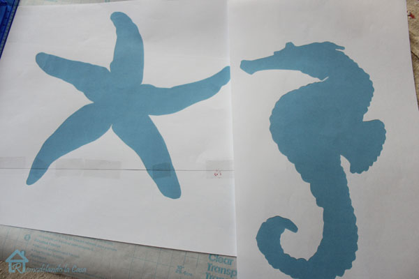 starfish and seahorse silhouettes free graphic