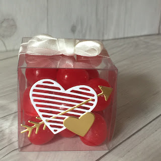 Treat box embellished with Love Notes Framelits Dies