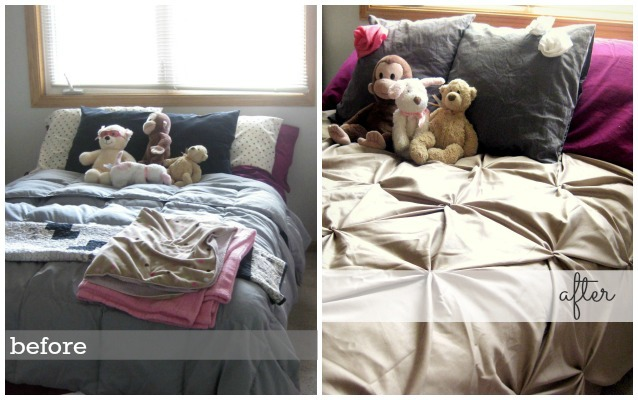 down comforter before and after covered in diy pin-tucked duvet cover