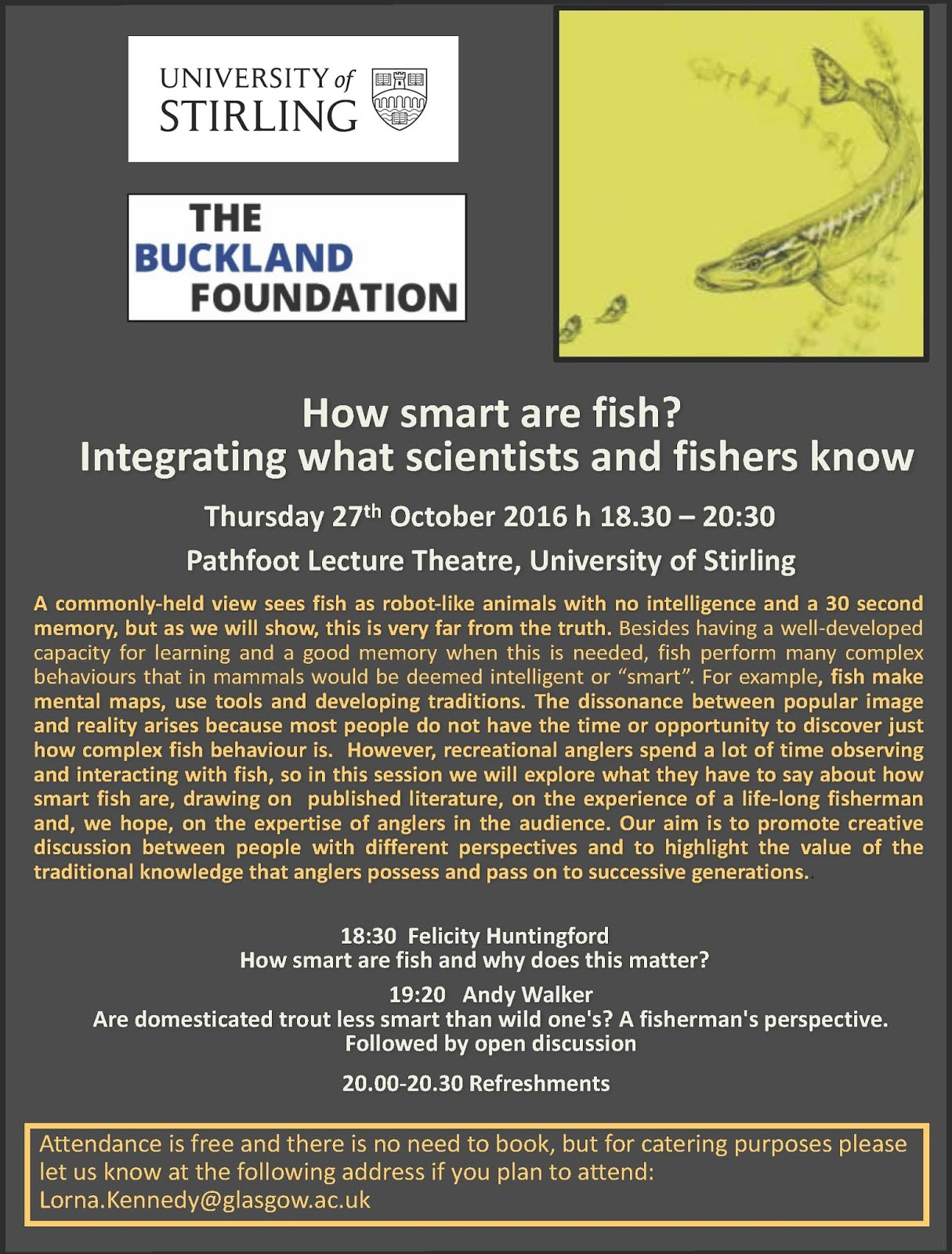 Pitlochry angling club news buckland lecture evening how for Are fish smart