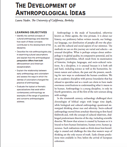 the anthropological approach and its unique perspective essay Cultural anthropology theoretical idea that each culture historically develops its own unique or the mid-twentieth-century rebirth of evolutionary approaches.