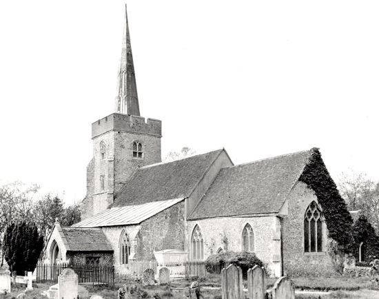 Photograph of St Mary's Church taken in the 1900s Image from G Nott, part of the Images of North Mymms Collection
