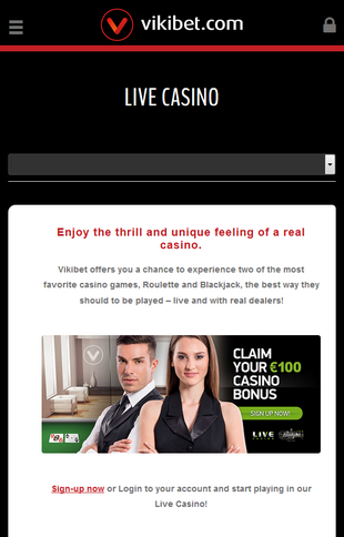 Vikibet Live Casino Screen
