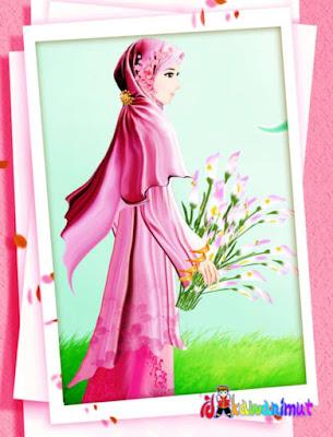 gambar kartun muslimah cantik memakai jilbab merah