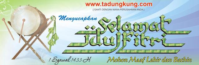 Contoh Spanduk, Banner ucapan Idul Fitri 2018 warna Biru kehijauan