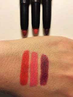 e.l.f. Matte Lip Color rowdy rouge dash of pink mulberry maven swatches