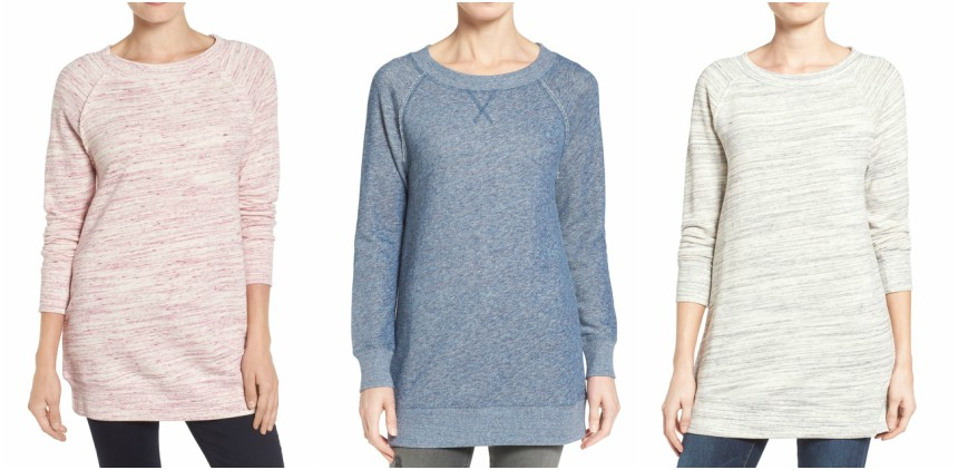 Caslon Space Dye Tunic Sweatshirt on sale at Nordstrom for only $29 (reg $49)