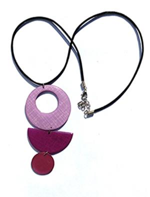 pink paper and resin 3-piece pendant on charcoal leather necklace chain