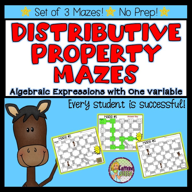 Distributive Property Mazes - Algebraic Expressions with one Variable