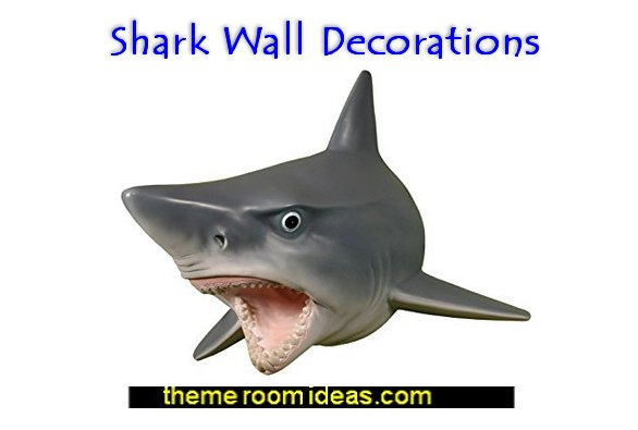 Shark Bedrooms - shark murals - shark bedding  - Shark Decor - shark wall decals - shark theme bedroom decorating ideas - surf shack bedrooms - nautical bedrooms - 3d shark wall decorations - surfing theme bedrooms