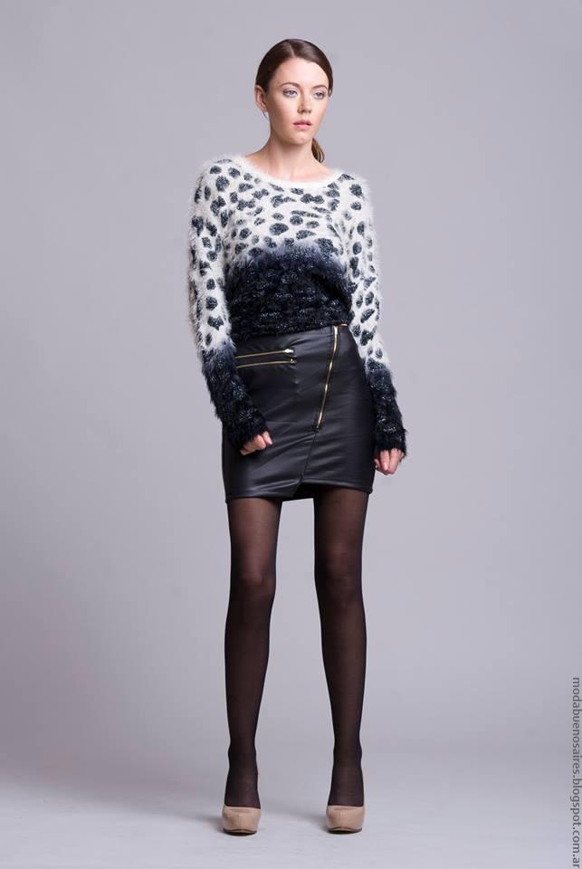 Sweaters y faldas de cuero invierno 2016 ropa de moda Dominga Dominó.