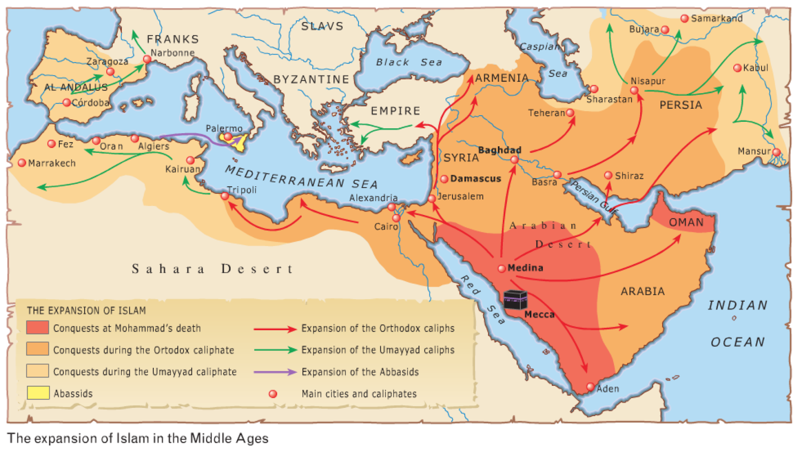 Map Of Spain 8th Century.2 Eso Session 2 Islam And The Byzantine Empire Mr Bell S World