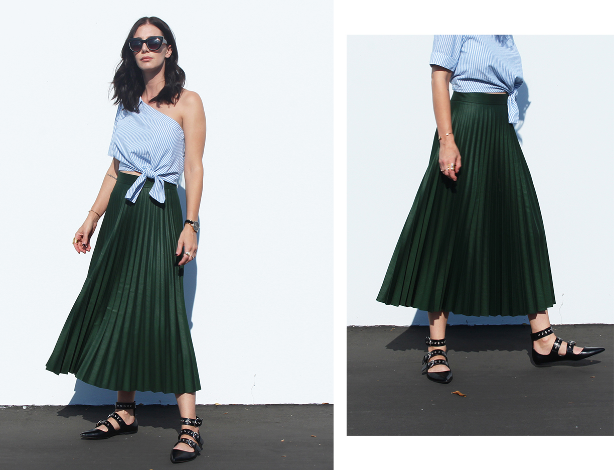 pleated midi skirt, one shoulder top, ballerina flats