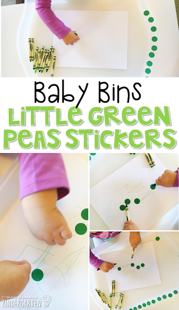 This little green peas sticker activity is great for learning the color green and is completely baby safe. These Baby Bin plans are perfect for learning with little ones between 12-24 months old.
