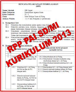 RPP PAI Kelas 1 s/d 6 untuk SD/MI Kurikulum 2013