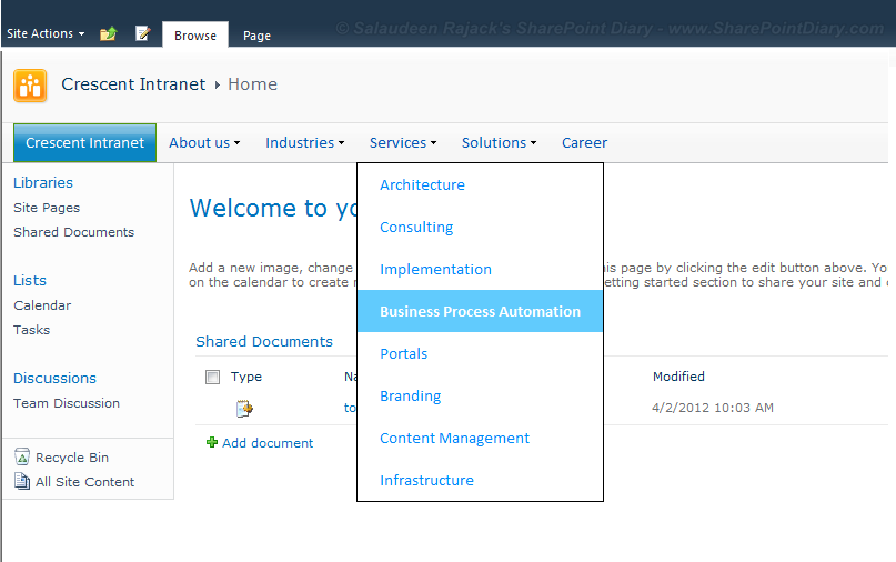 sharepoint 2010 branding top menu