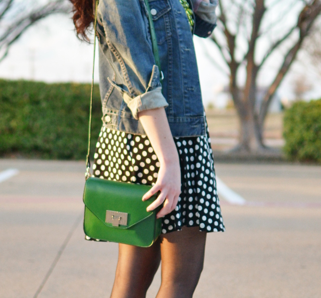 Polka Dot Dress and Denim Jacket