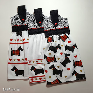 Scottie Dogs Hanging Kitchen Tea Towel