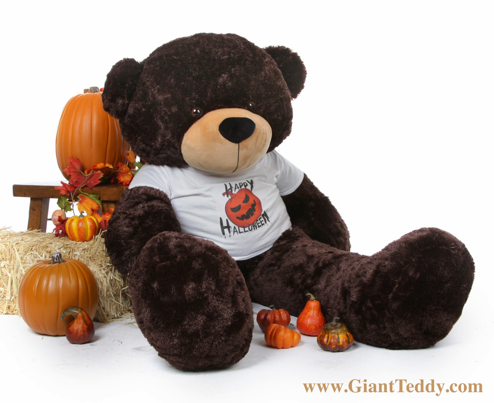 Enormous 5 foot Happy Halloween Teddy Bear Brownie Cuddles