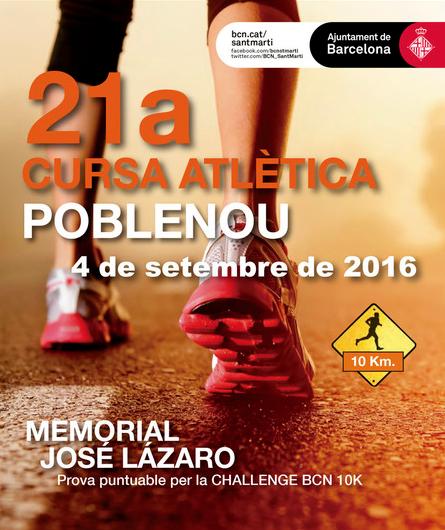 Póster 21ª Cursa Atlètica Poble Nou - 4 de septiembre de 2016