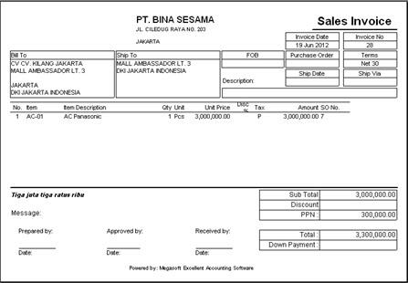 Contoh Invoice Rental Alat Berat Rasmi H